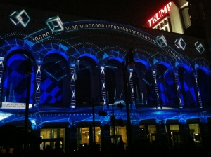 Duality 3D light show transforms Boardwalk Hall with sounds, shapes and colors.