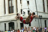Look up! City Hall Hits a High Note with Circus Aerials in Courtyard