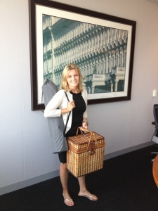 Natanya DiBona gets ready for Diner En Blanc Philadelphia.