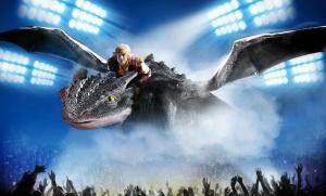 Dragon and Viking Fly Above Arena in Dreamworks' How to Train Your Dragon Live Specatular