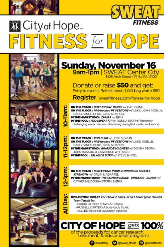 sweat fitness, city of hope, women's cancer walk