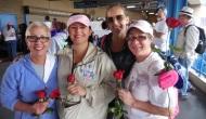 Photos: Women's Cancer Walk Creates Sea of Purple Over Benjamin FranklinBridge